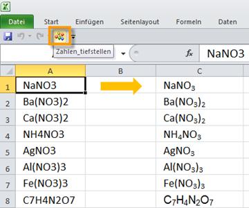 Ziffern in chemischen Formeln leichter tiefstellen per Makro