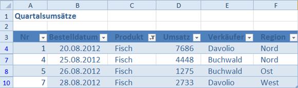 Nach einer Filterung ist nun klar erkennbar, um welchen Datensatz es sich handelt.