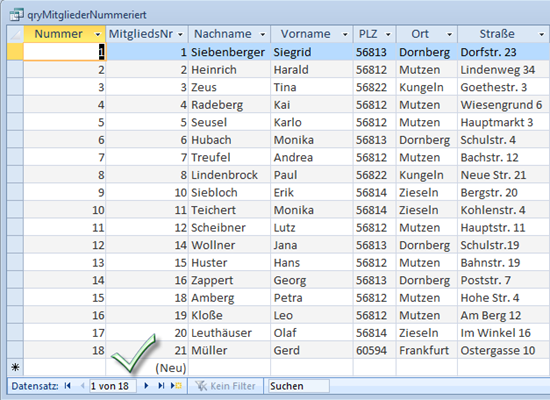 Per Abfrage wird eine fortlaufende Nummerierung der Datensätze erreicht...