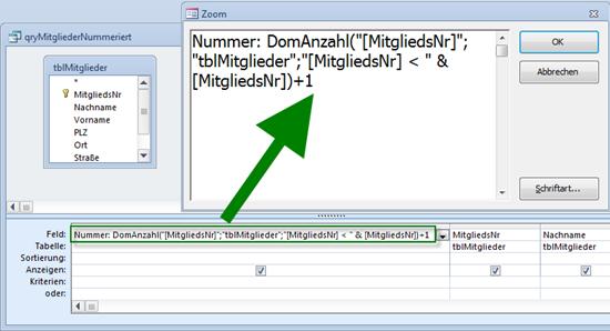 Eine per DomAnzahl generierte Nummer sorgt für eine fortlaufende Nummerierung...