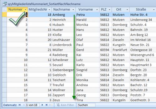 Nummerierung in nach Nachnamen sortierter Liste funktioniert per Unterabfrage