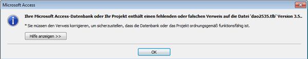 Fehlermeldung Teil 1 beim Öffnen einer Datenbank aus einer älteren Access-Version