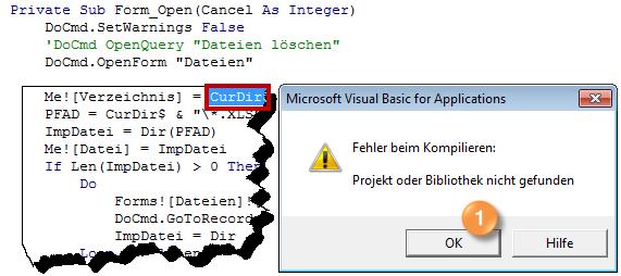 Die Meldung Fehler beim Kompilieren im VBA-Editor