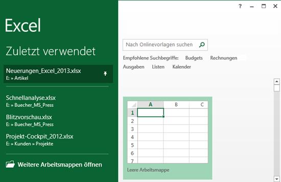 Bereits beim Excel-Start auf oft gebrauchte Mappen direkt zugreifen