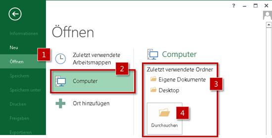 """Standardmäßig werden die Ordner """"Eigene Dokumente"""" und """"Desktop"""" angezeigt"""