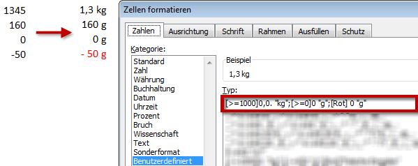 """Mit einem Zahlenformat die Maßeinheit von """"g"""" auf """"kg"""" ändern"""
