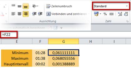 Hilfstabelle für Dezimalwerte und die Änderung ins Zahlenformat Standard