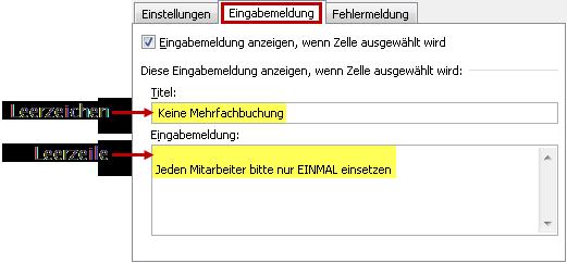 Den Benutzerhinweis im Register Eingabemeldung definieren