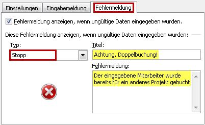 Die Stopp-Nachricht im Register Fehlermeldung festlegen