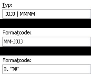 Die drei benutzerdefinierten Zahlenformate