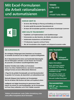 Flyer zum Workshop Excel-Formulare